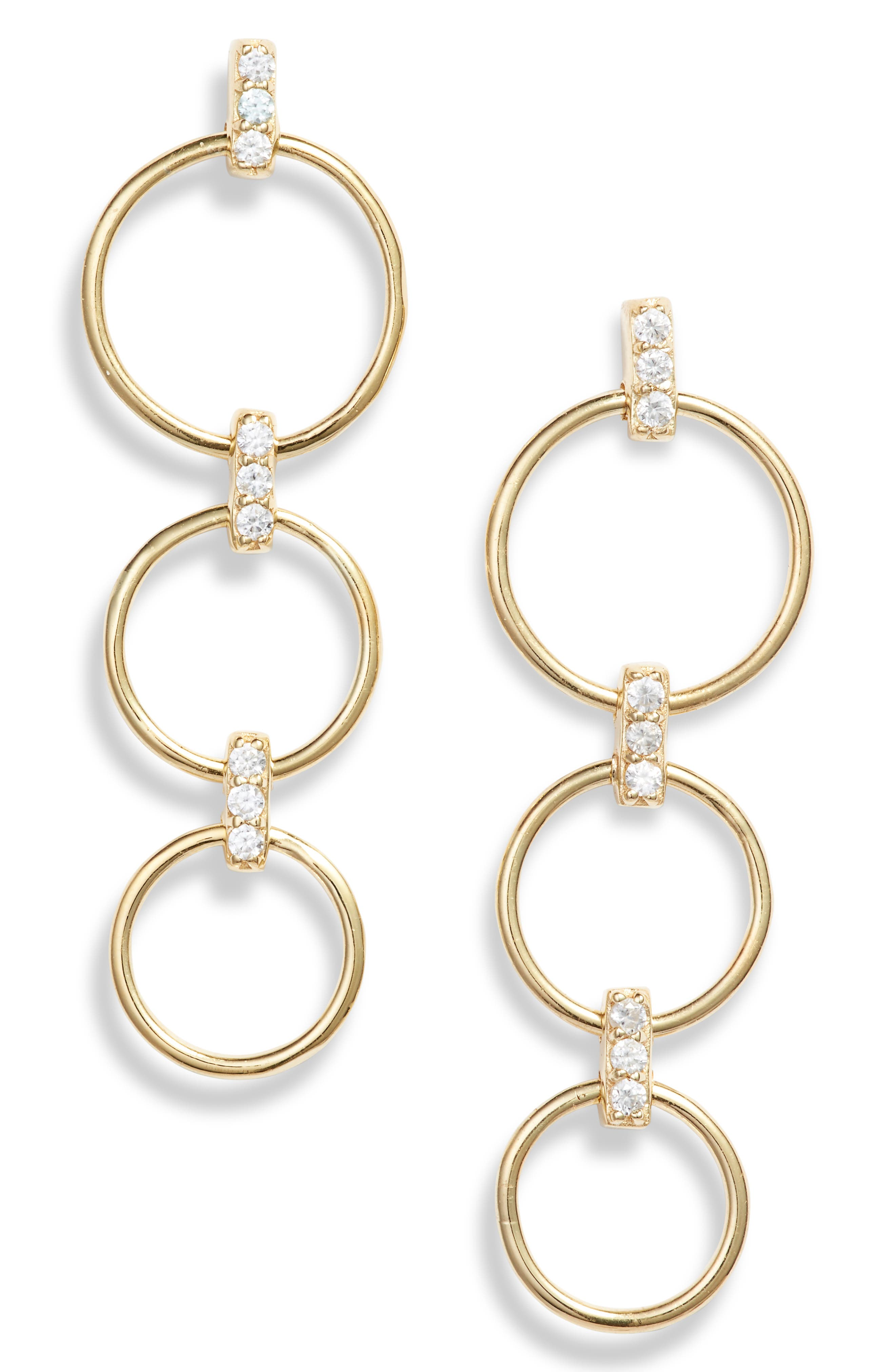 Triple Hoop Drop Earrings