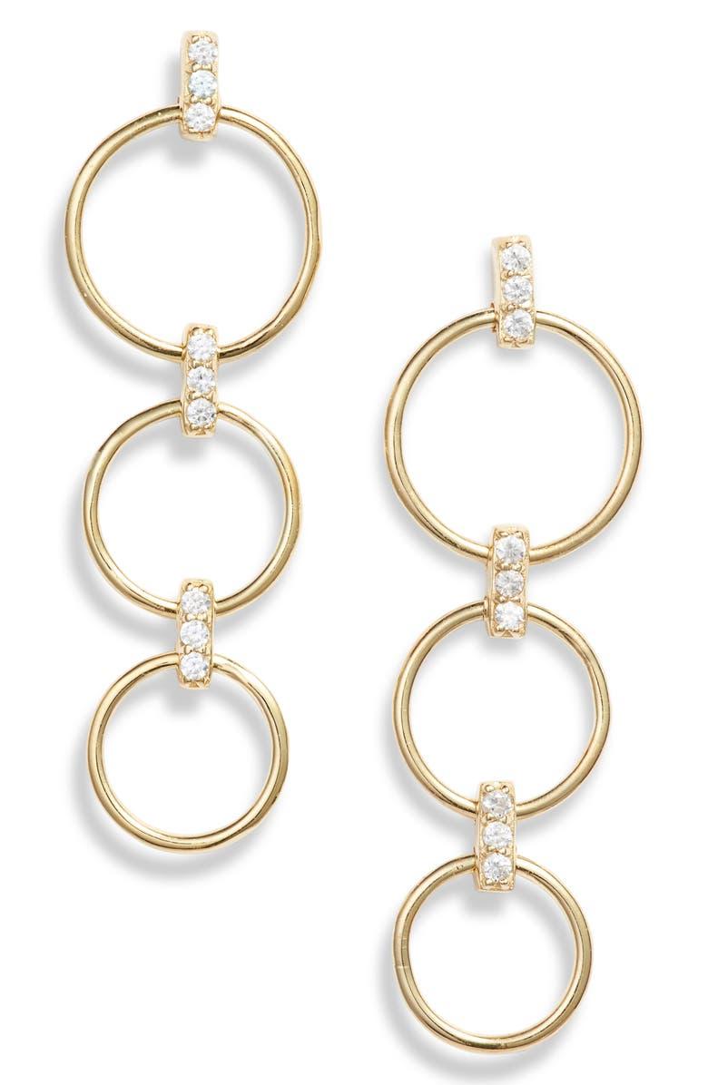 ELA RAE Triple Hoop Drop Earrings, Main, color, GOLD