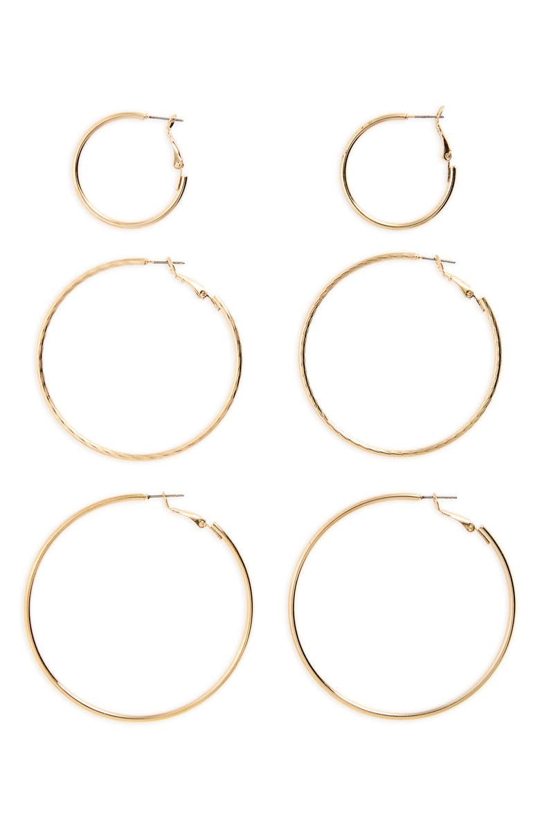 BP. 3-Pack Hoop Earrings, Main, color, GOLD