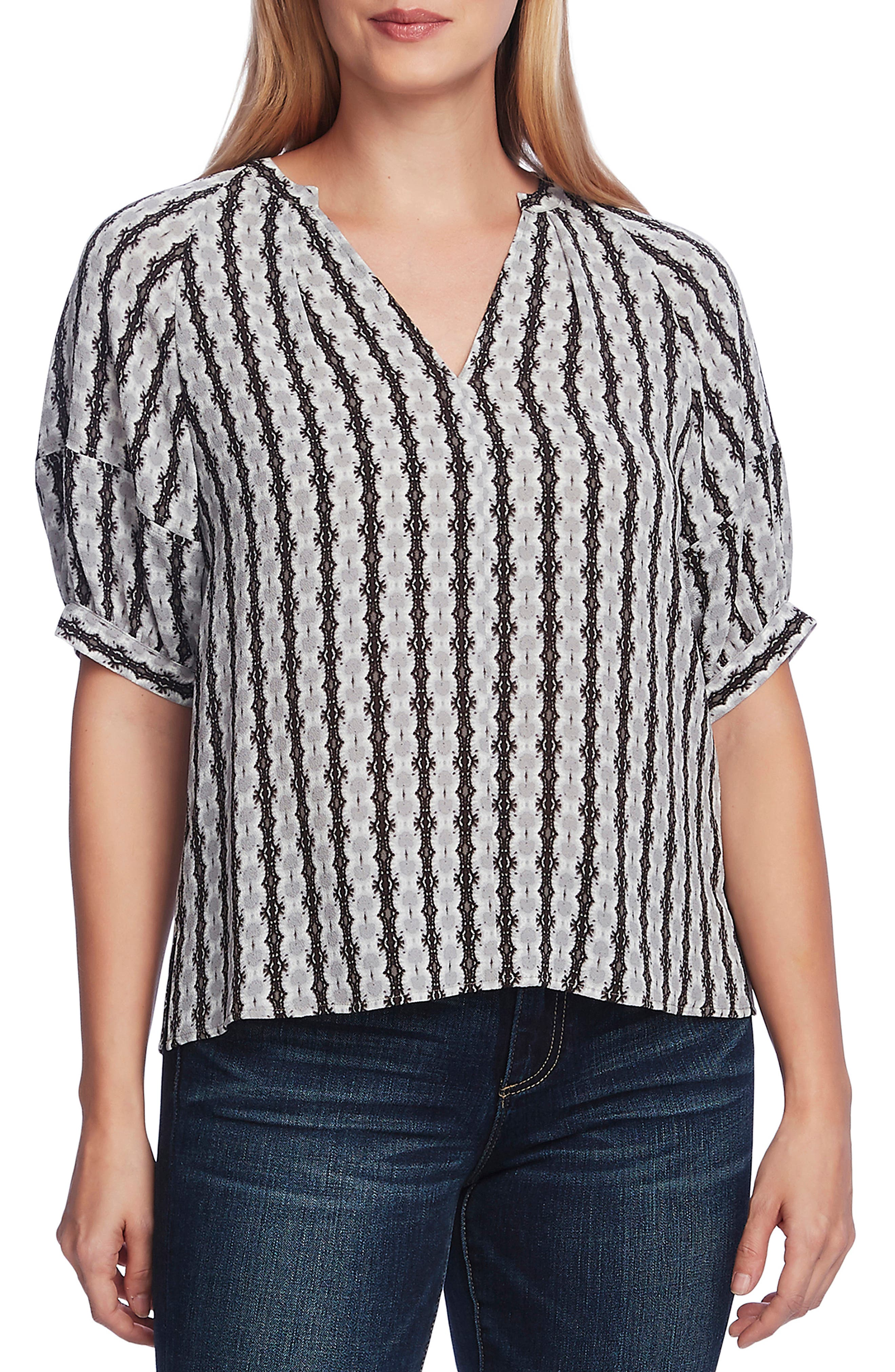 Image of Vince Camuto Elbow Bubble Sleeve Starburst Top