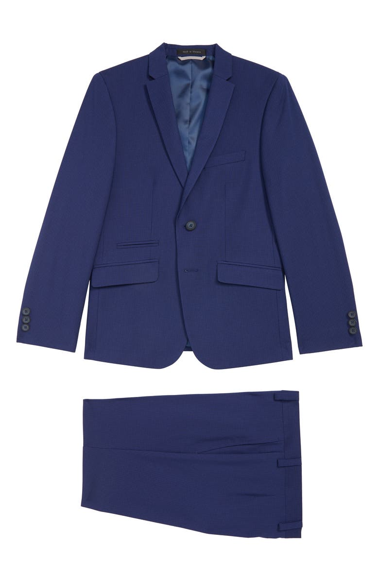 ANDREW MARC Mini Grid Nested Suit, Main, color, BLUE 400