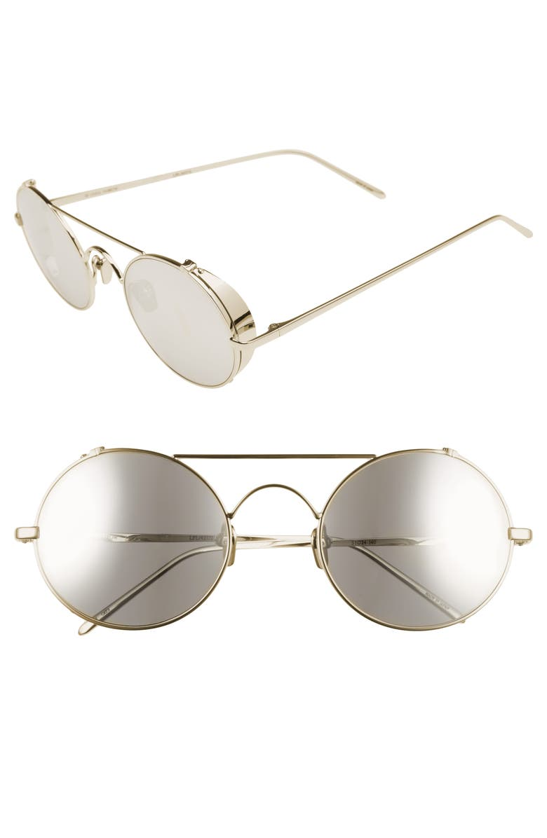 LINDA FARROW 51mm Oval Sunglasses, Main, color, WHITE GOLD/ PLATINUM