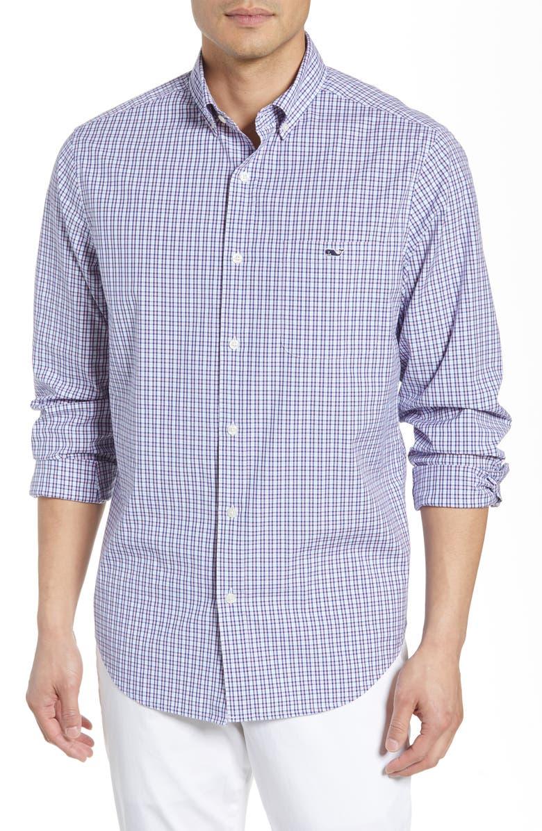 VINEYARD VINES Tucker Regular Fit Plaid Stretch Shirt, Main, color, HIBISCUS