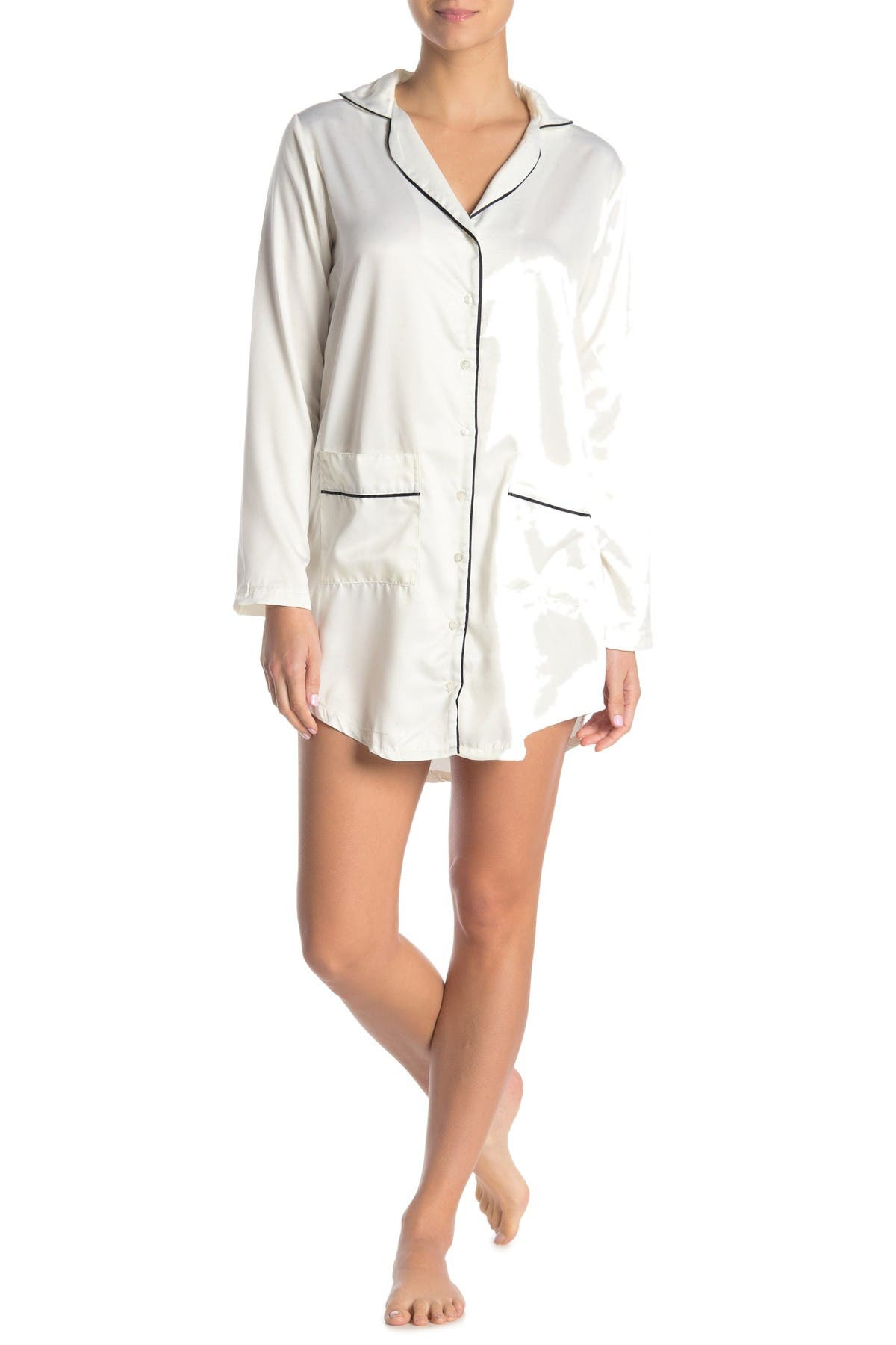 Image of Nanette Lepore Long Sleeve Satin Night Shirt