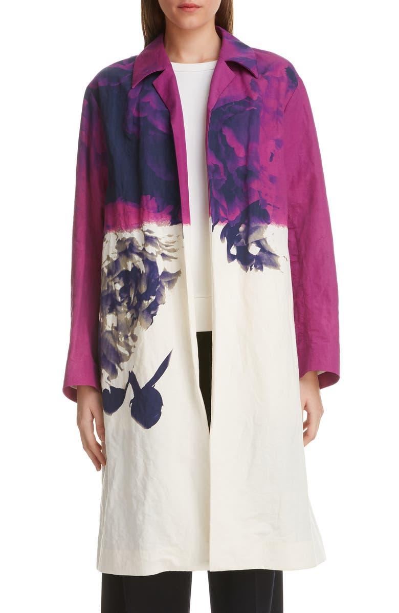 DRIES VAN NOTEN Ramona Floral Print Cotton & Linen Jacket, Main, color, 930
