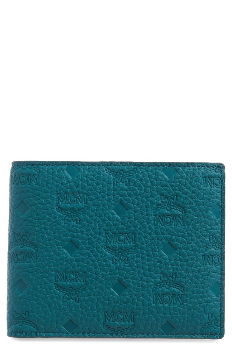 MCM Tivitat Monogram Embossed Leather Bifold Wallet, Main, color, DEEP LAGOON