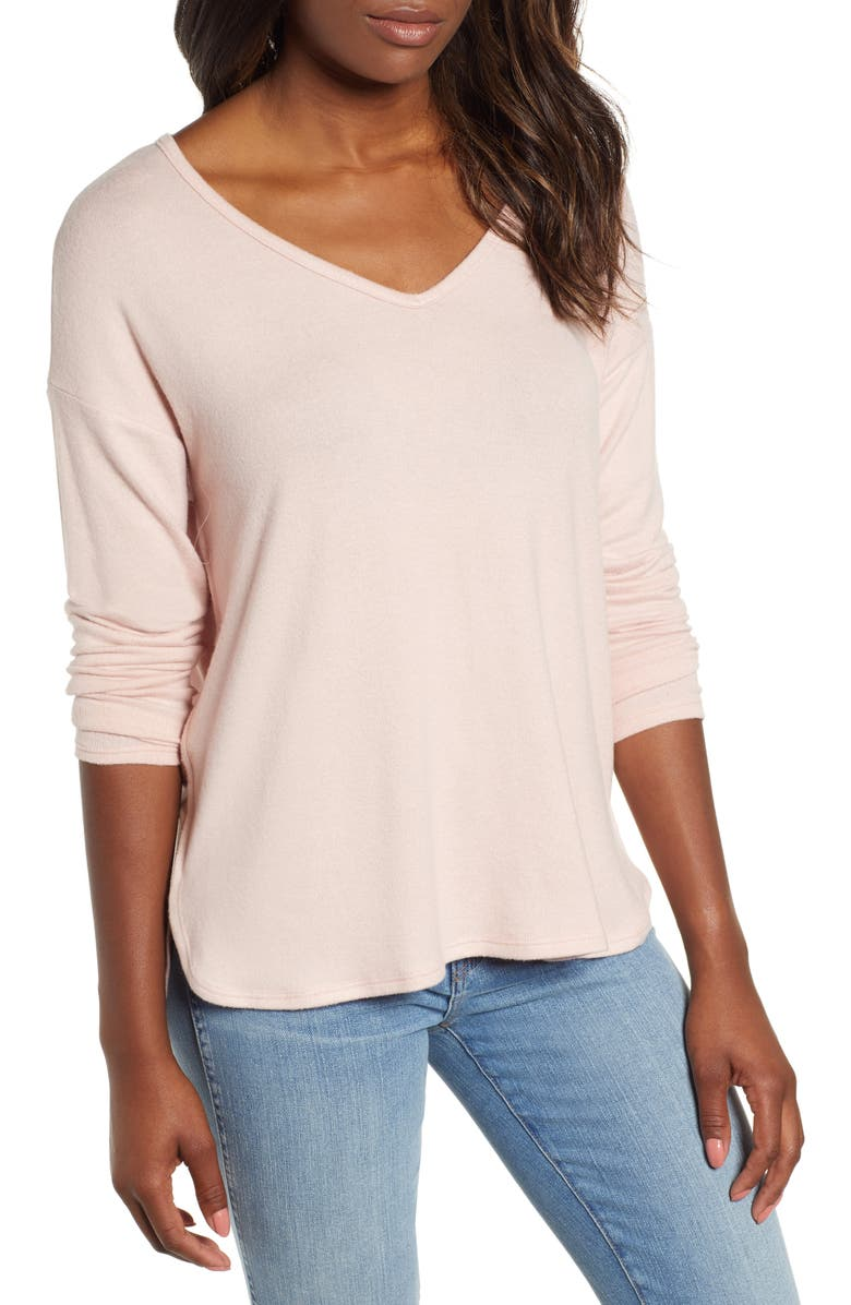 GIBSON Cozy V-Neck Top, Main, color, PINK SMOKE