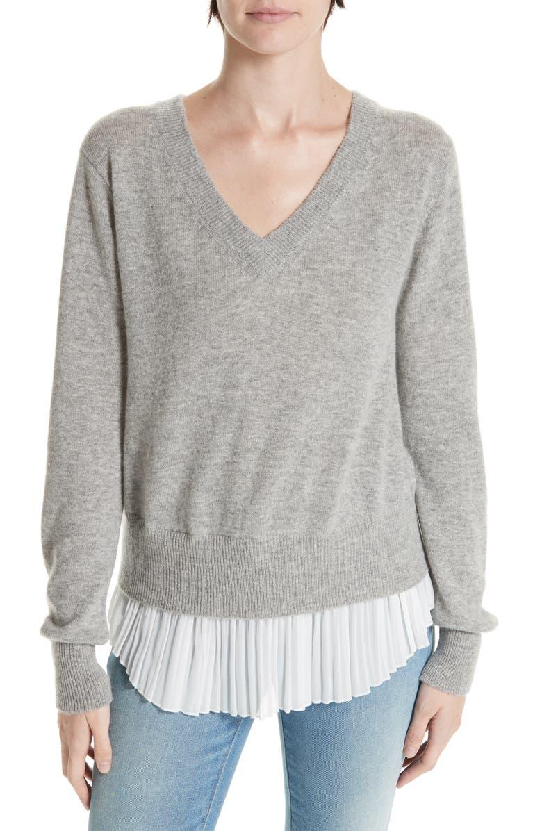 BROCHU WALKER Mix Media Wool & Cashmere Sweater, Main, color, ARCTIC GREY