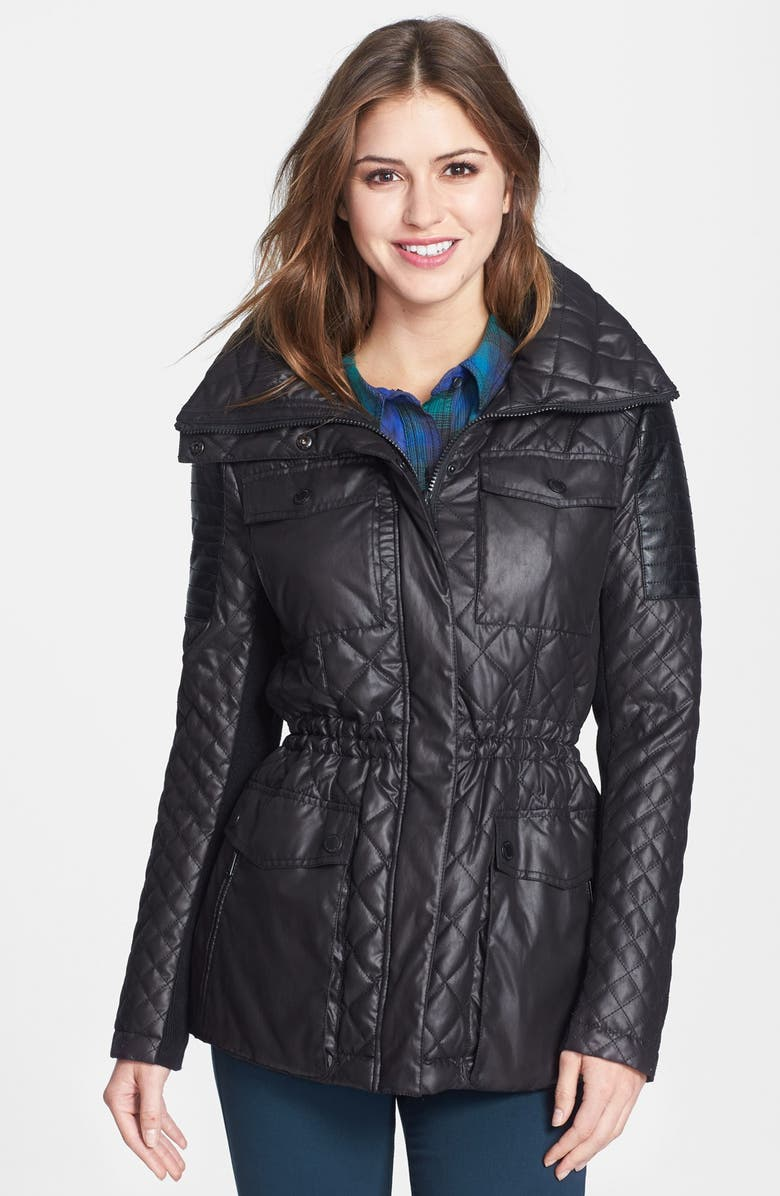 BCBGENERATION Quilted Anorak with Stowaway Hood, Main, color, 001