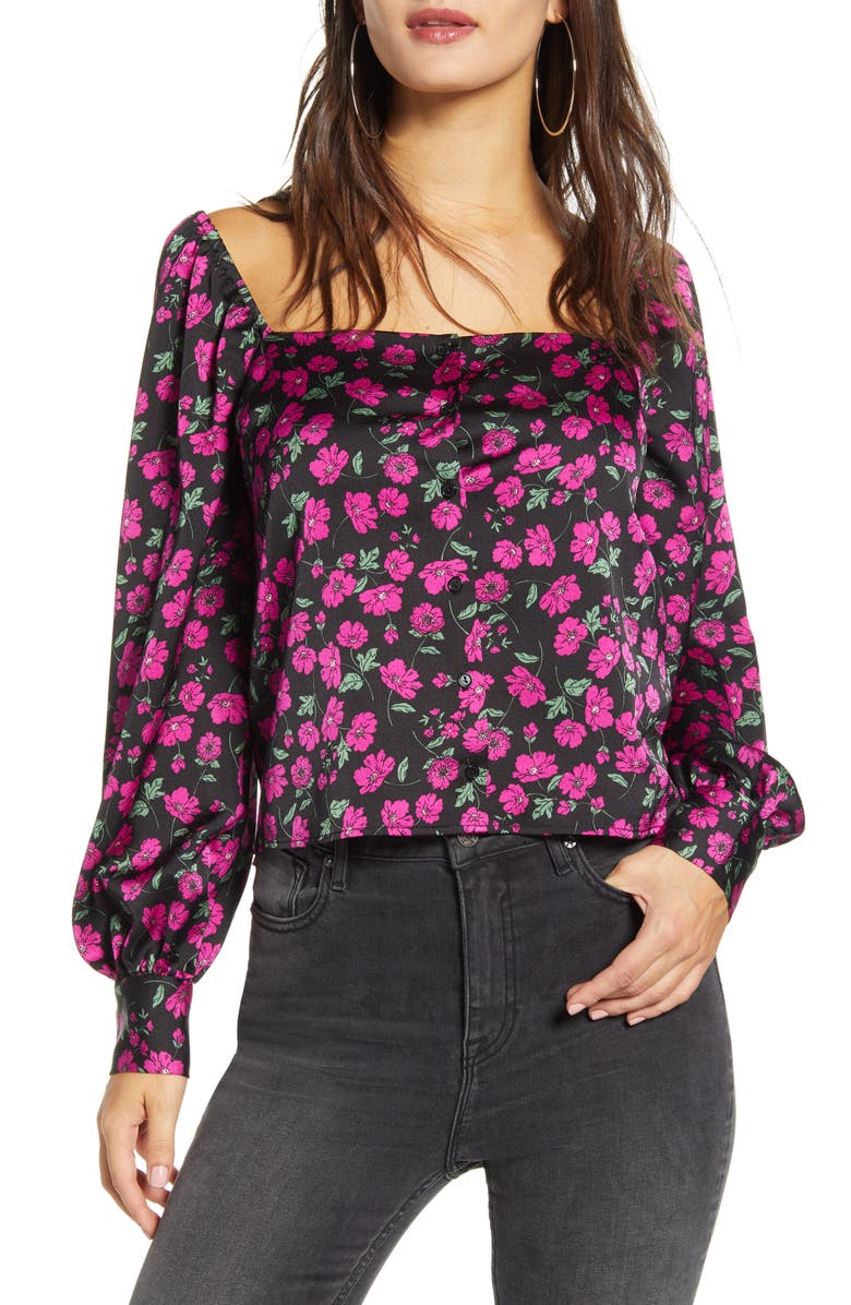 LEITH Floral Square Neck Long Sleeve Top, Main, color, BLACK WILDFLOWER
