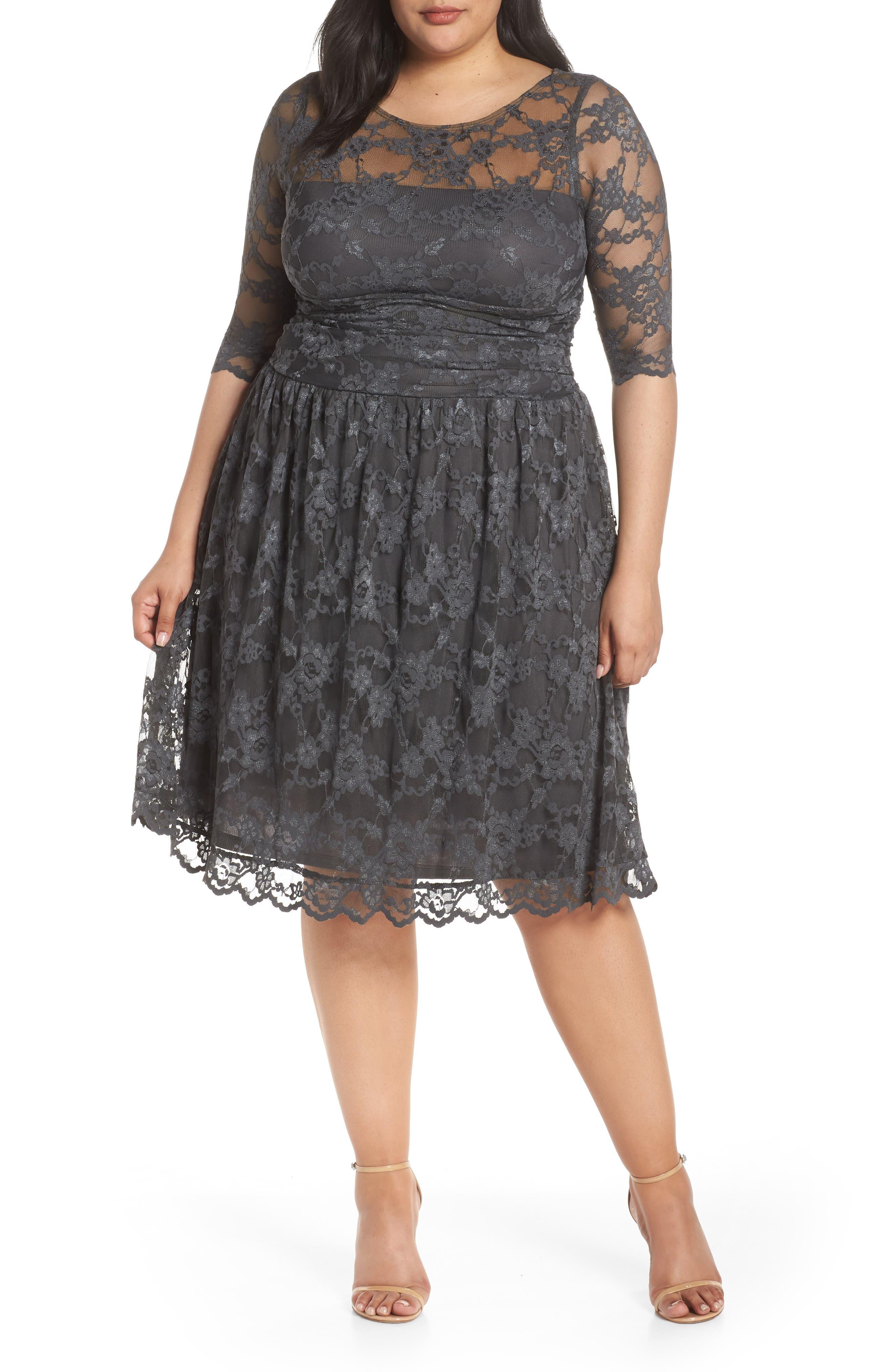 plus size women's kiyonna luna lace a-line dress, size 0x - grey