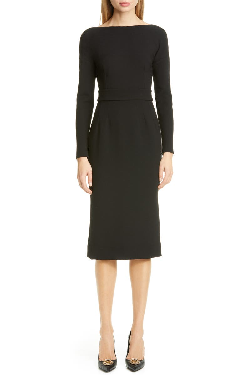 DOLCE&GABBANA Bow Back Long Sleeve Wool Blend Crepe Dress, Main, color, BLACK