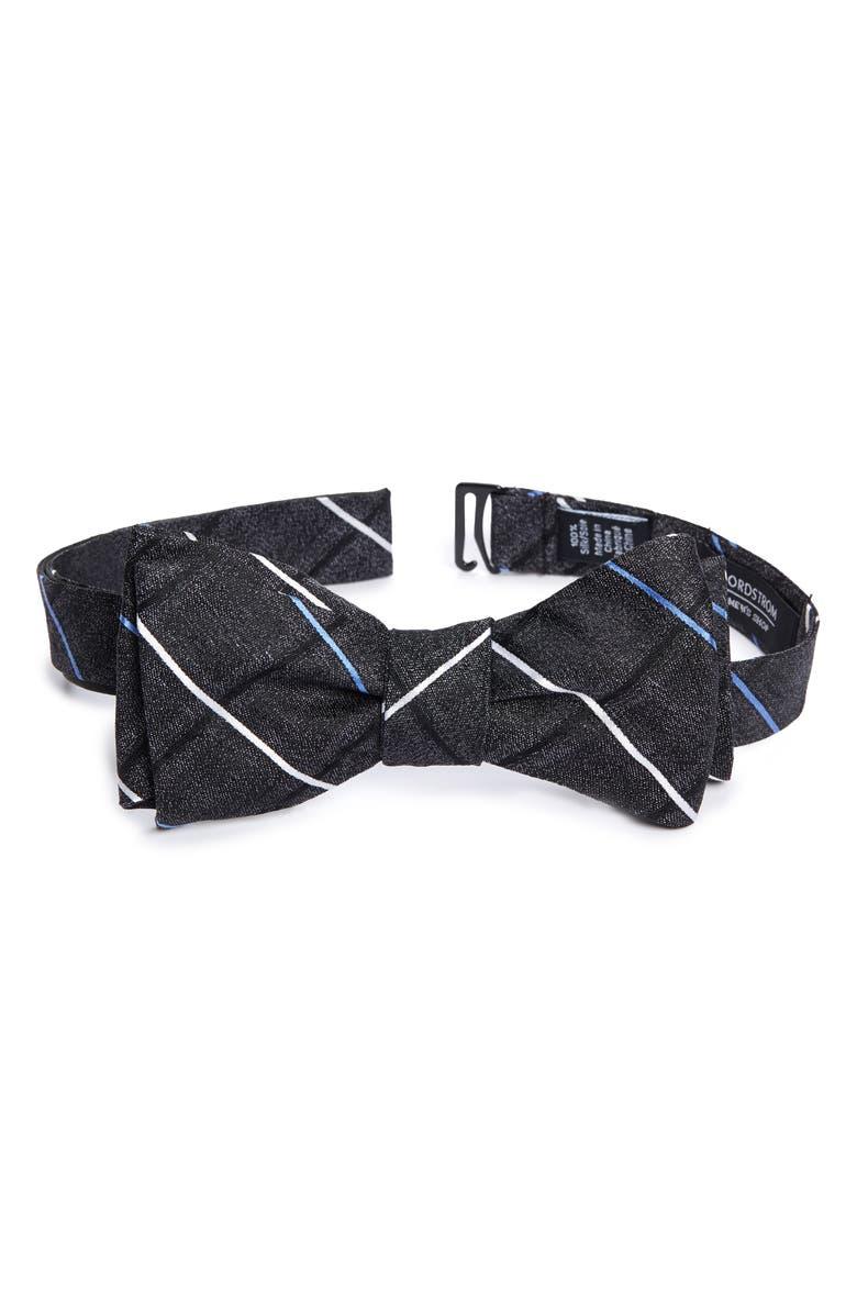NORDSTROM MEN'S SHOP Veilleux Grid Silk Bow Tie, Main, color, BLACK