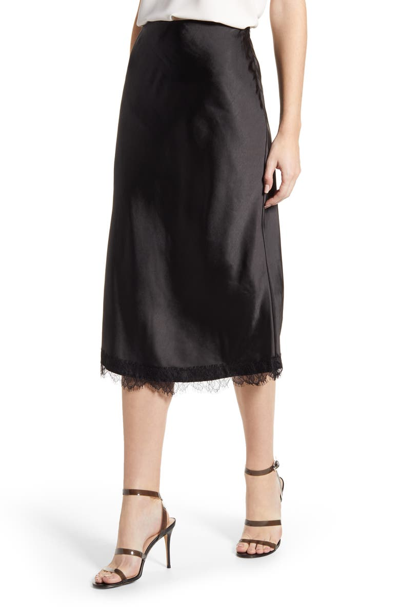 CUPCAKES AND CASHMERE Indio Satin Midi Skirt, Main, color, BLACK