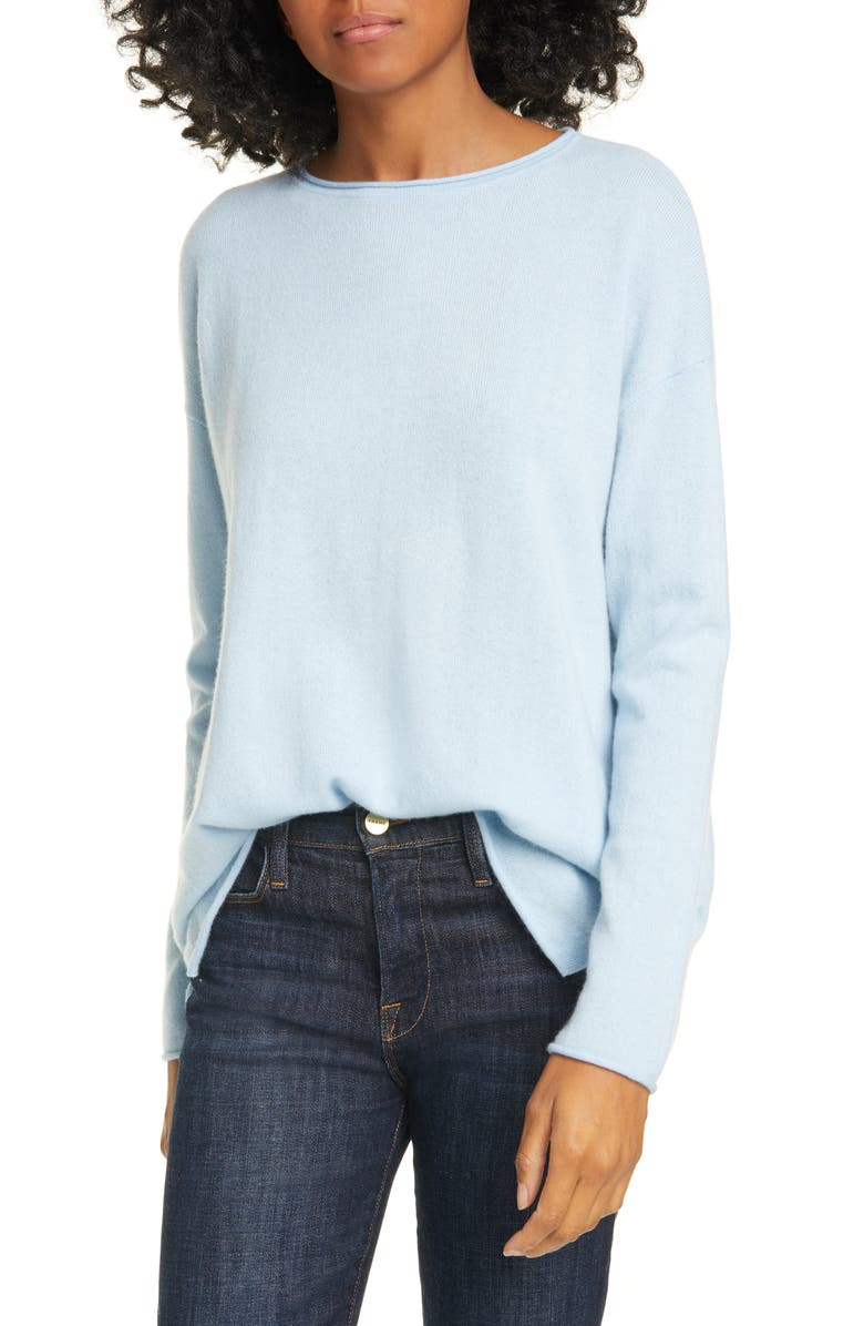 NORDSTROM SIGNATURE Long Sleeve Cashmere Tunic Sweater, Main, color, BLUE CERULEAN