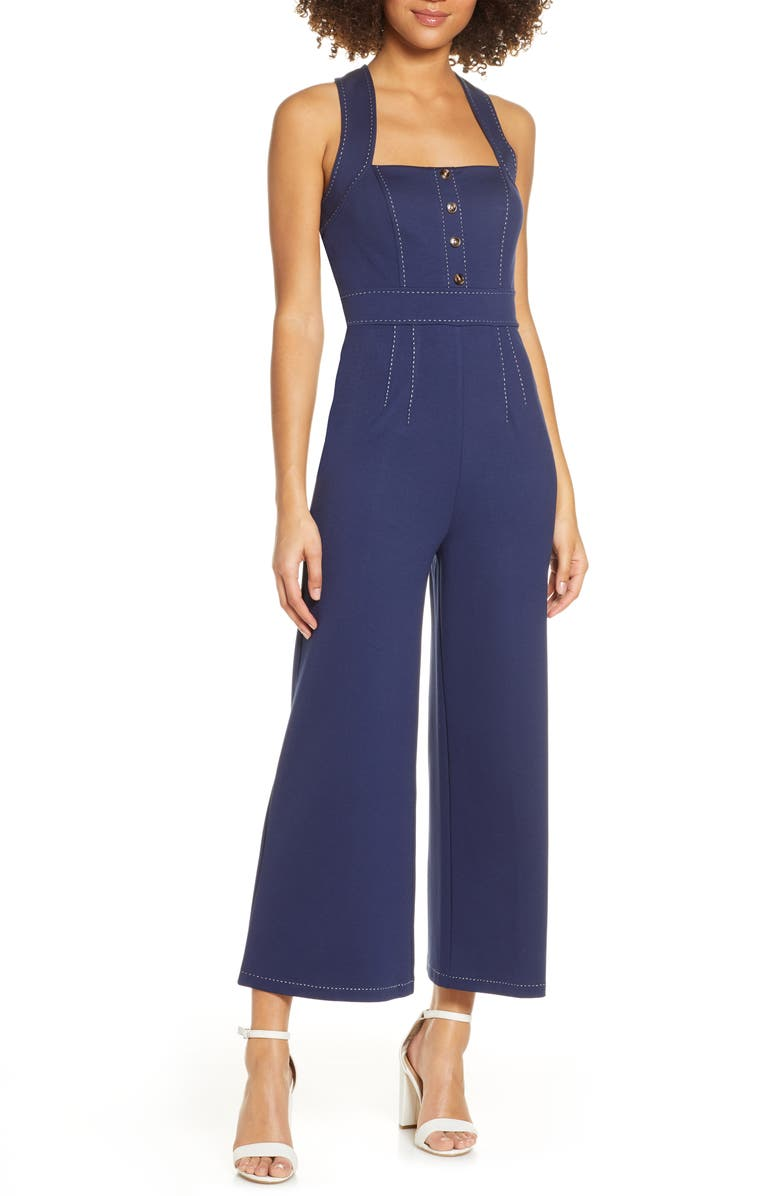 ALI & JAY Eastside Jumpsuit, Main, color, NAVY/ IVORY