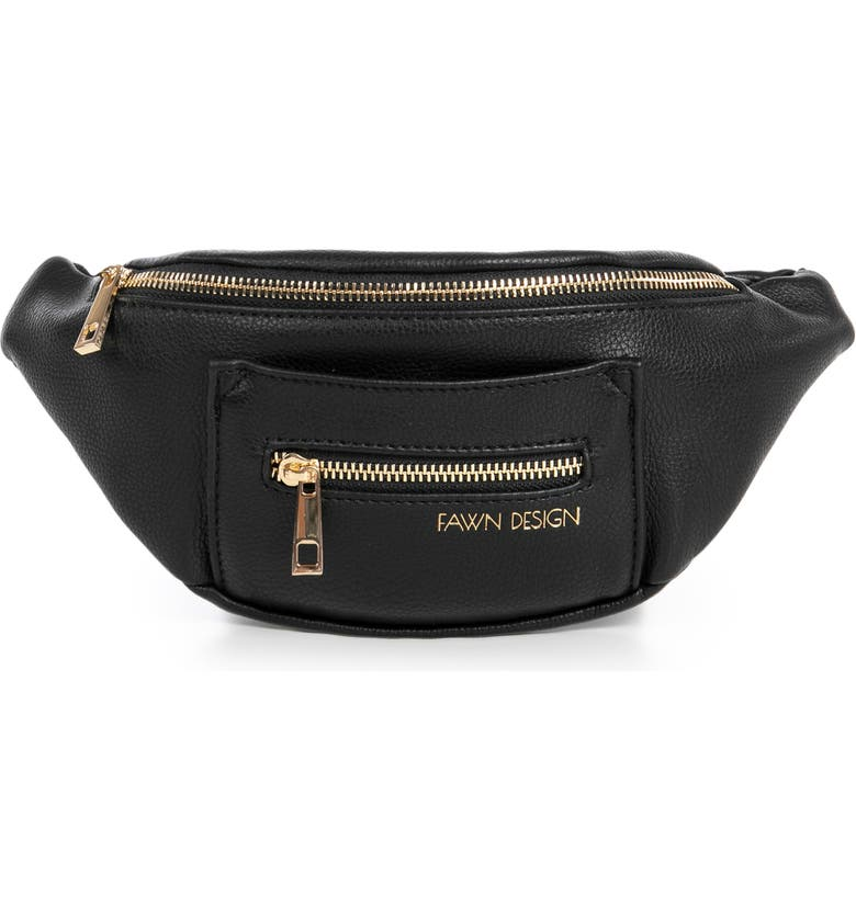 FAWN DESIGN The Fawny Faux Leather Belt Bag, Main, color, BLACK