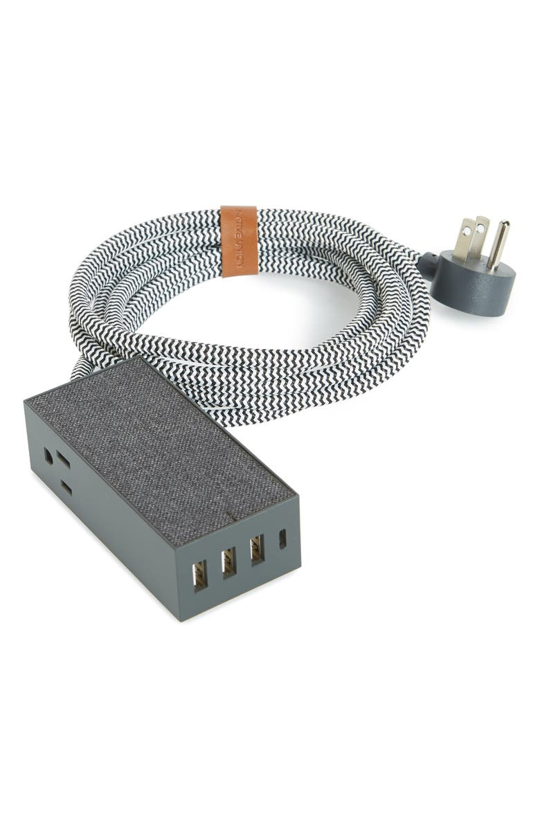 NATIVE UNION Smart Hub Bridge Power Cord, Main, color, SLATE