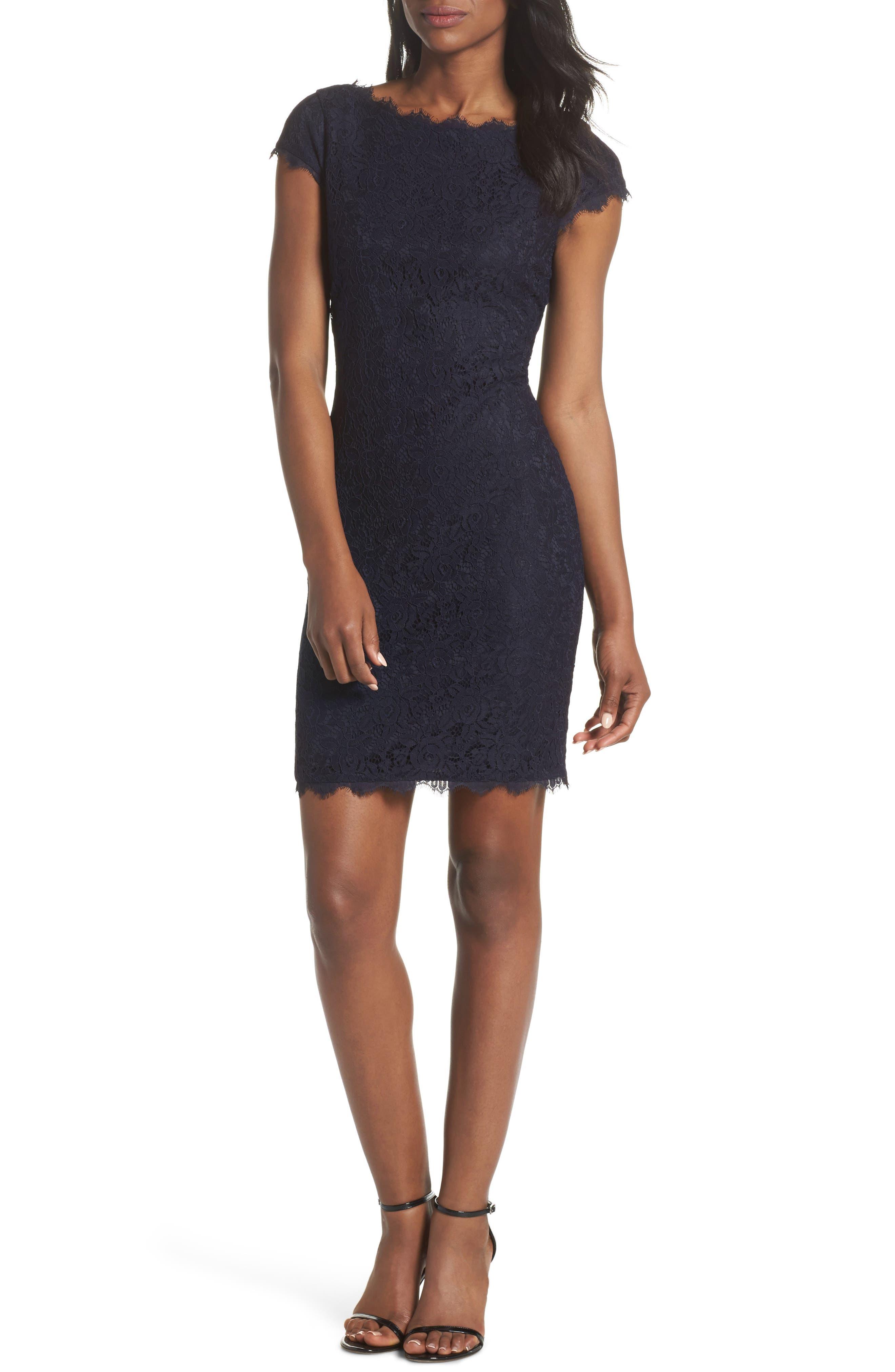 Petite Eliza J Cap Sleeve Lace Sheath Dress, Blue