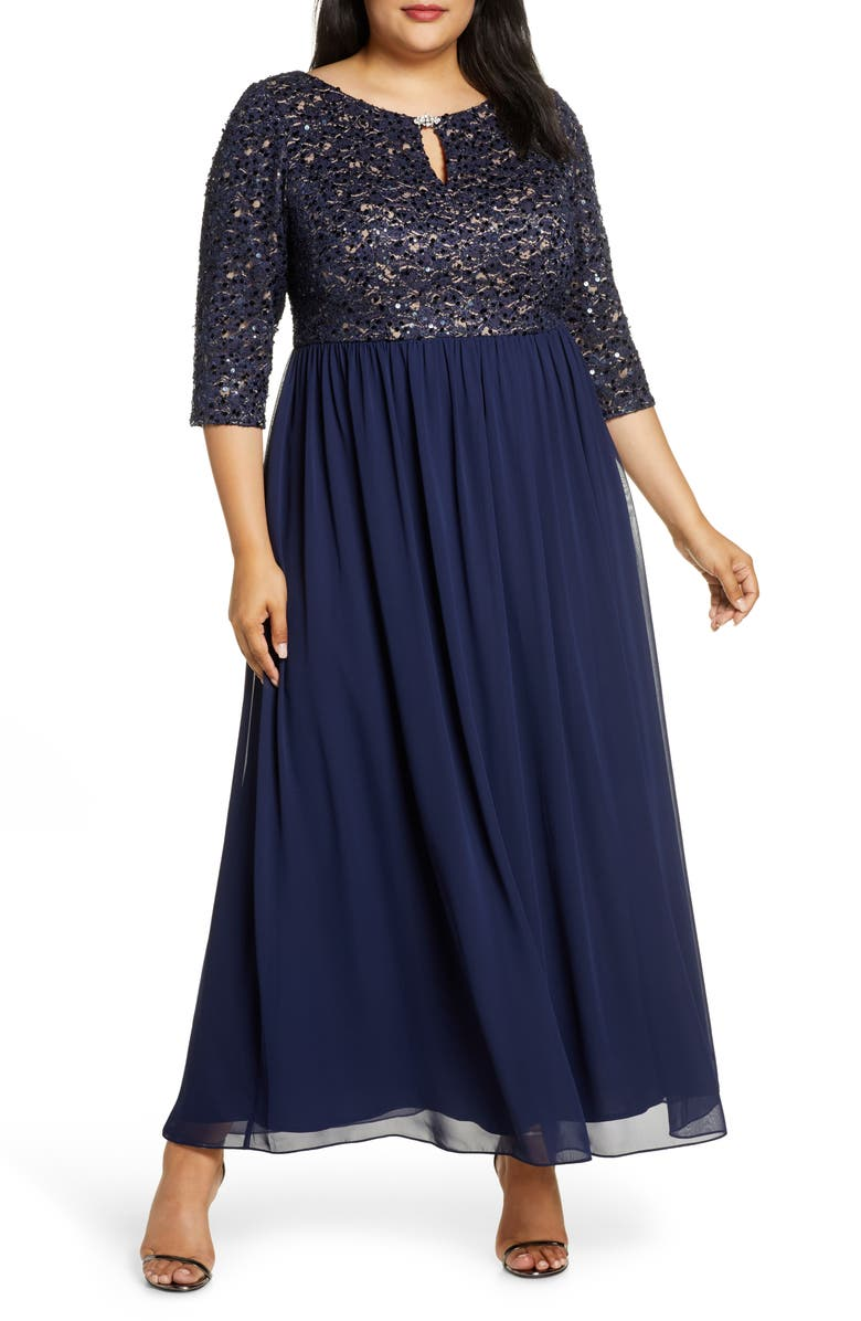 ALEX EVENINGS Embellished Keyhole Gown, Main, color, NAVY/ NUDE