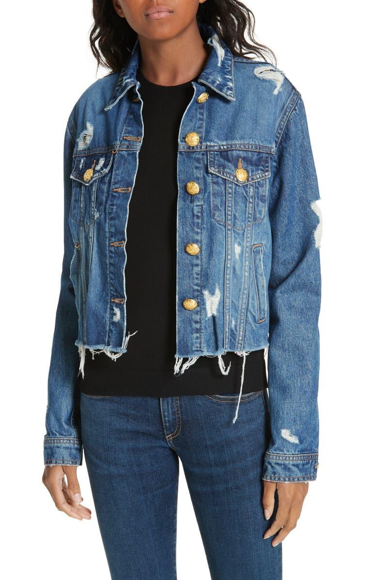 VERONICA BEARD Cara Distressed Denim Jacket, Main, color, 422