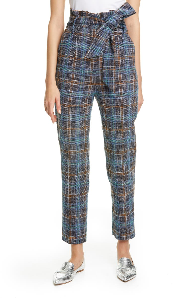 VERONICA BEARD Clerence Plaid Tweed High Waist Crop Paperbag Waist Pants, Main, color, 461