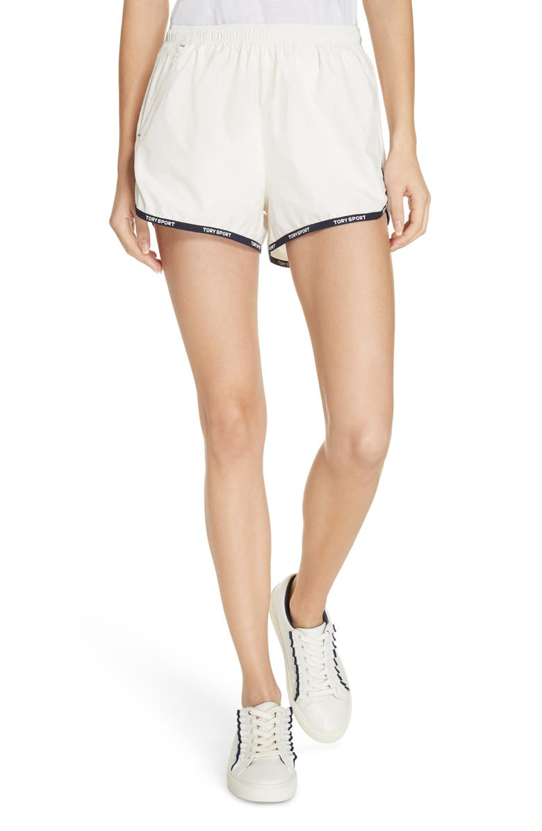 TORY SPORT Banner Track Shorts, Main, color, SNOW WHITE
