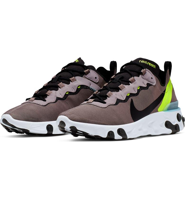 NIKE React Element 55 Sneaker, Main, color, PUMICE/ BLACK/ WHITE