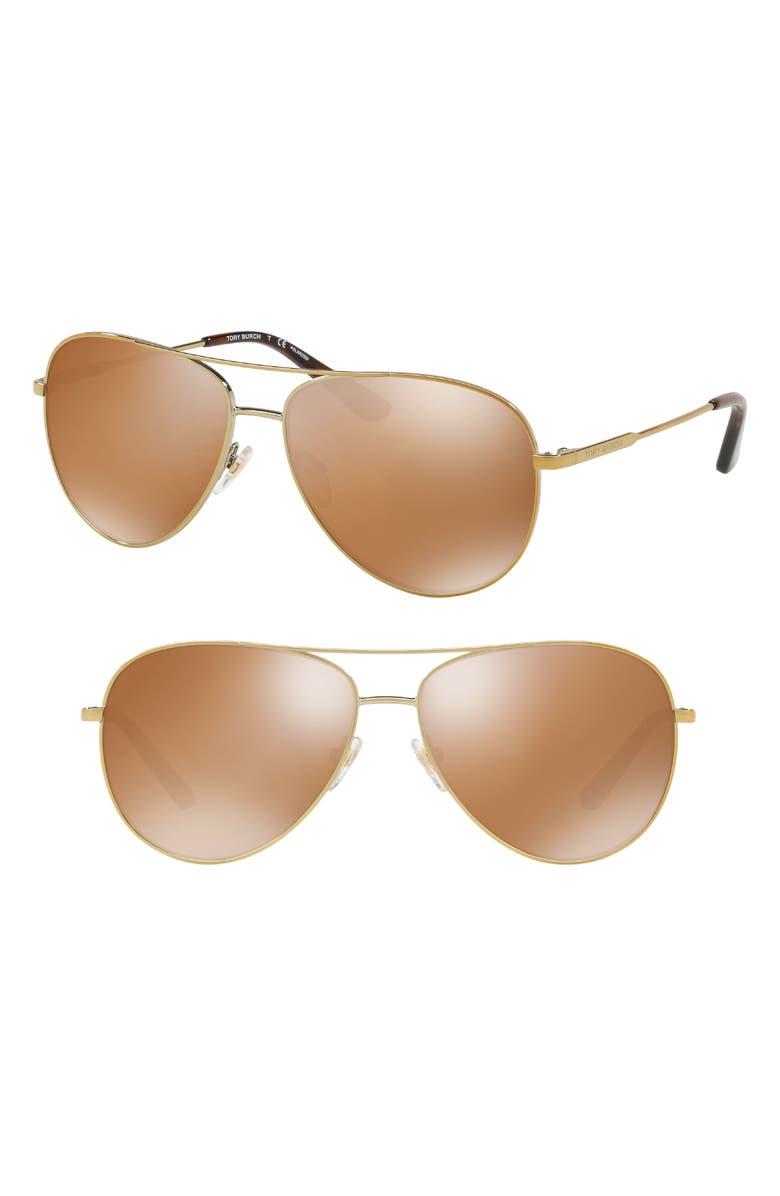 TORY BURCH 59mm Thin Polarized Metal Aviator Sunglasses, Main, color, 200