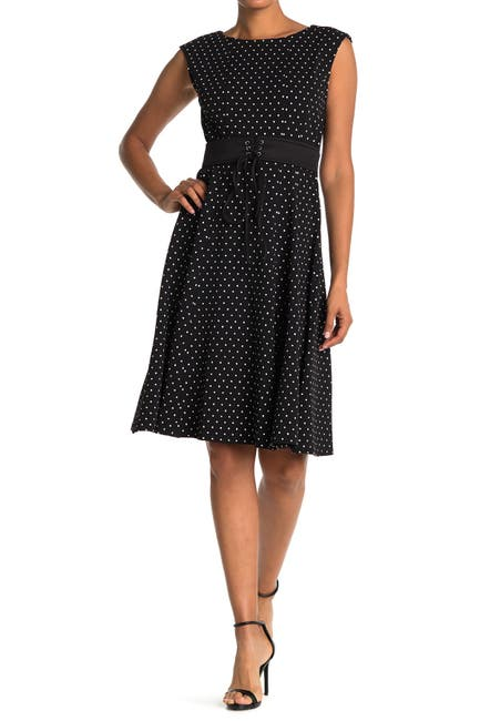Image of Gabby Skye Polka Dot Waist Tie Fit & Flare Dress