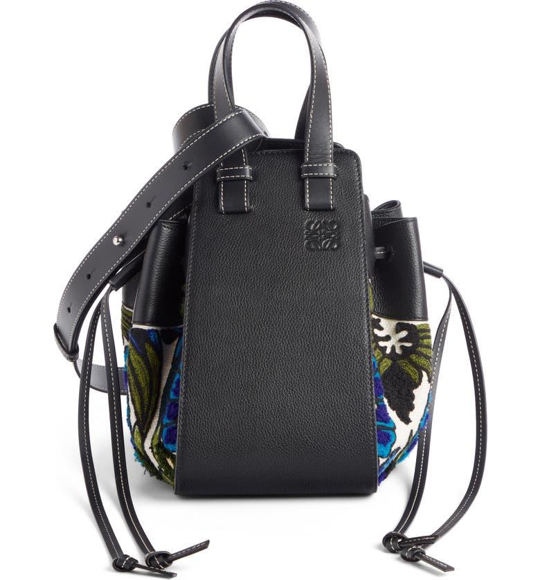 LOEWE Small Hammock Floral Leather Hobo Bag, Main, color, PEACOCK BLUE