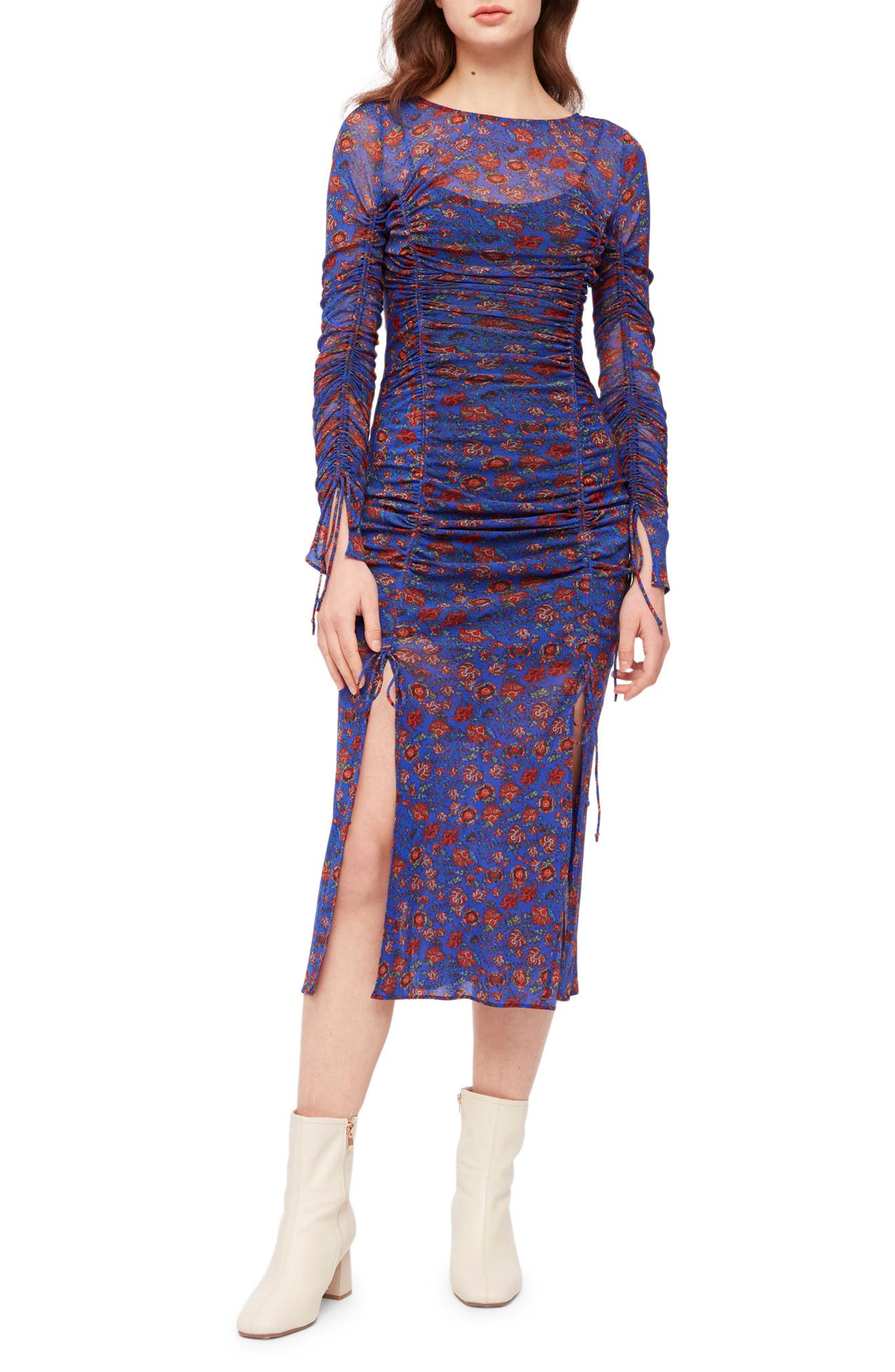 Corrine Floral Ruched Long Sleeve Dress