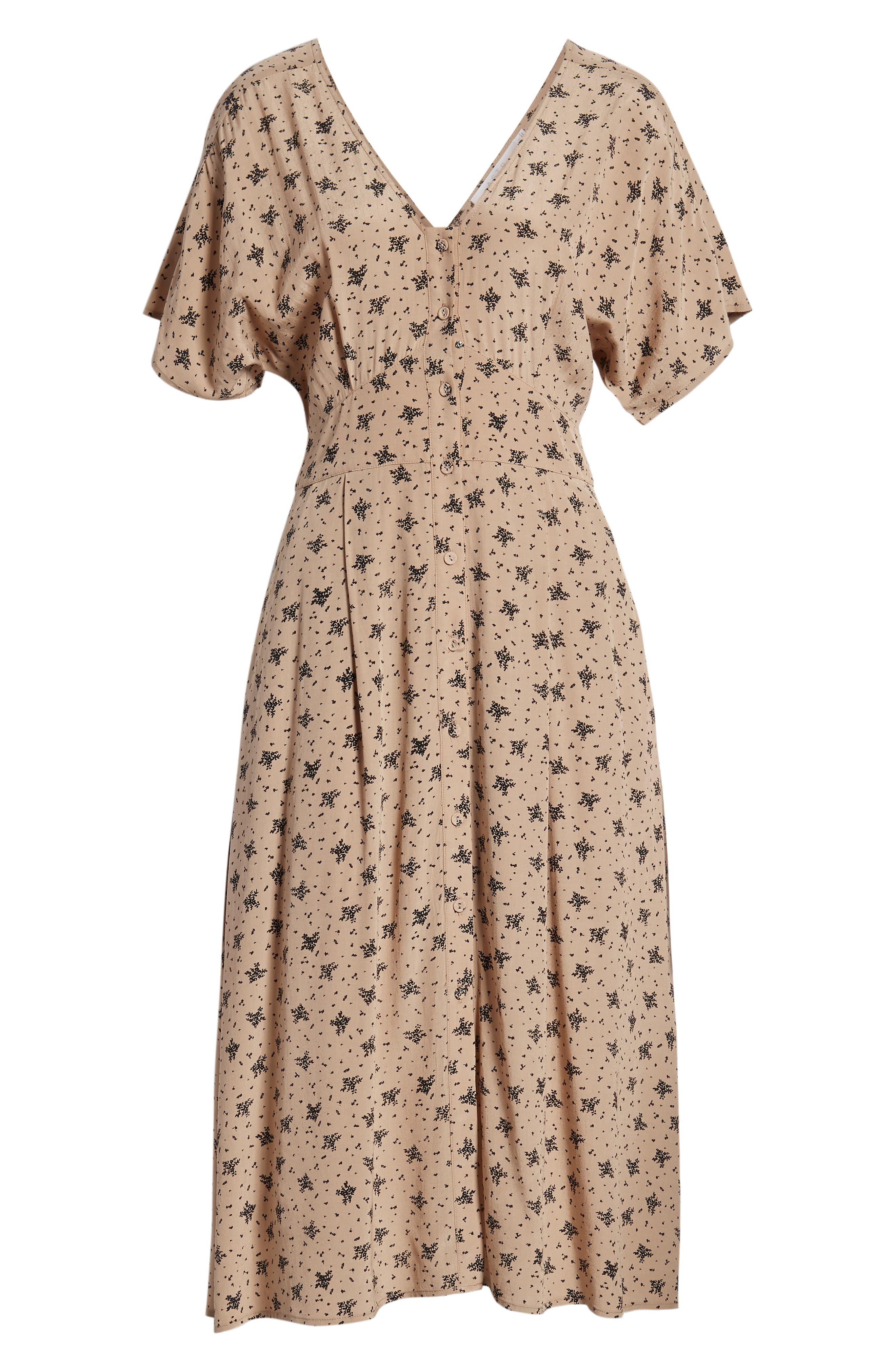 ,                             Dolman Sleeve Button Down Midi Dress,                             Alternate thumbnail 7, color,                             TAN BLACK MULTI FLORAL
