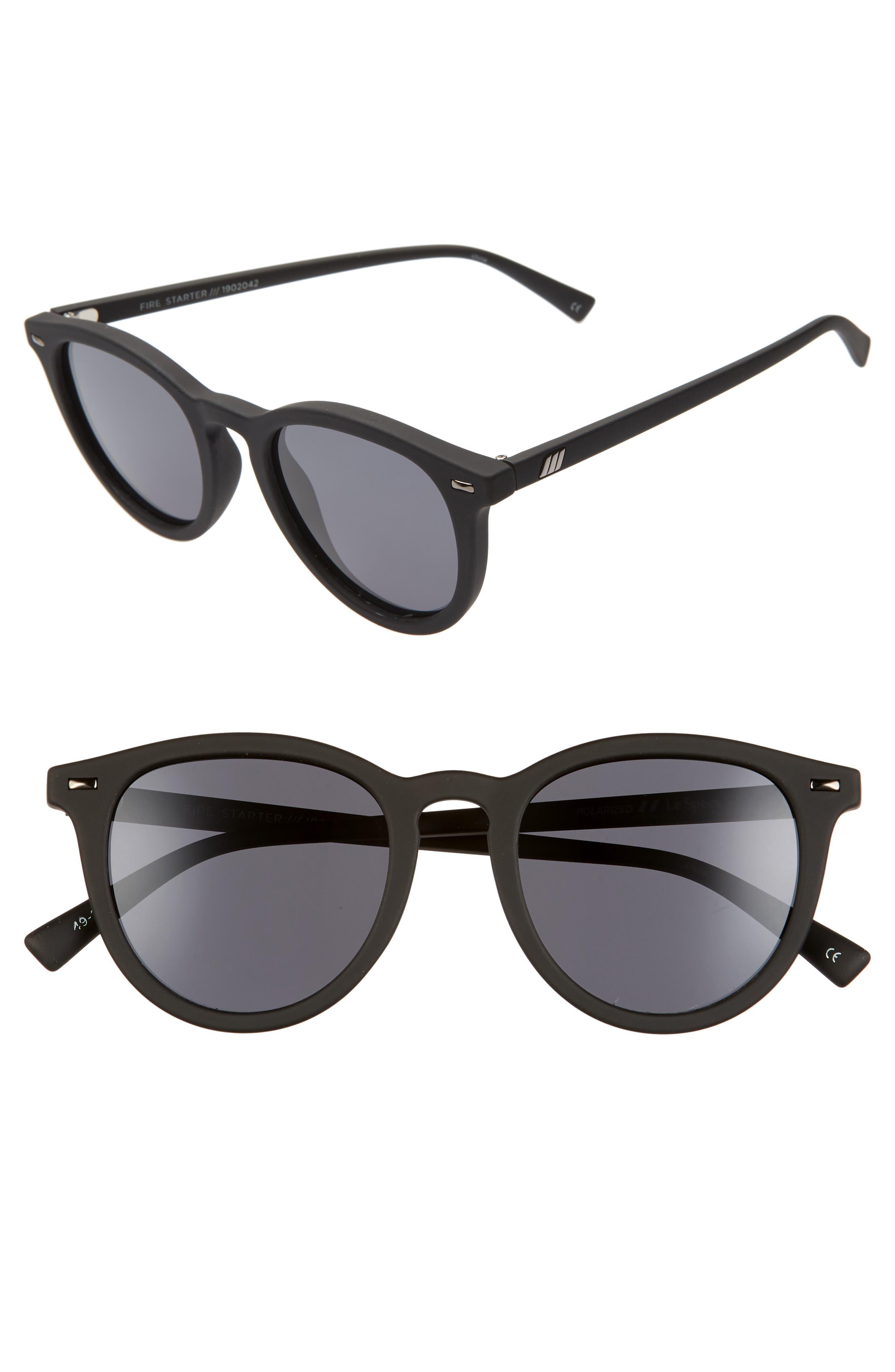 Le Specs Fire Starter 4m Polarized Round Sunglasses - Black Rubber