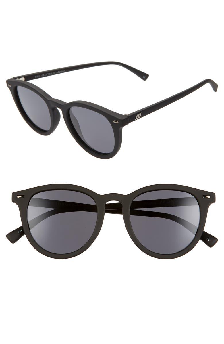 LE SPECS Fire Starter 49mm Polarized Round Sunglasses, Main, color, BLACK RUBBER