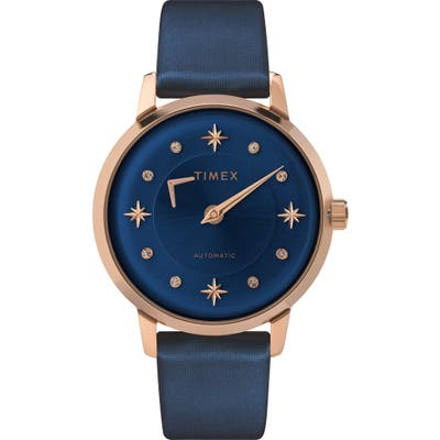 Timex Celestial Opulence Automatic Leather Strap Watch,