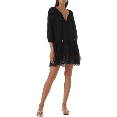 Melissa Odabash Ashley Eyelet Detail Cotton Cover-Up Tunic, Black