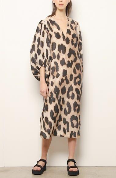 Leopard Print Long Sleeve Linen & Silk Maxi Dress, video thumbnail