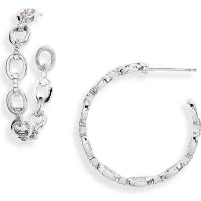 Sterling Forever Chain Hoop Earrings