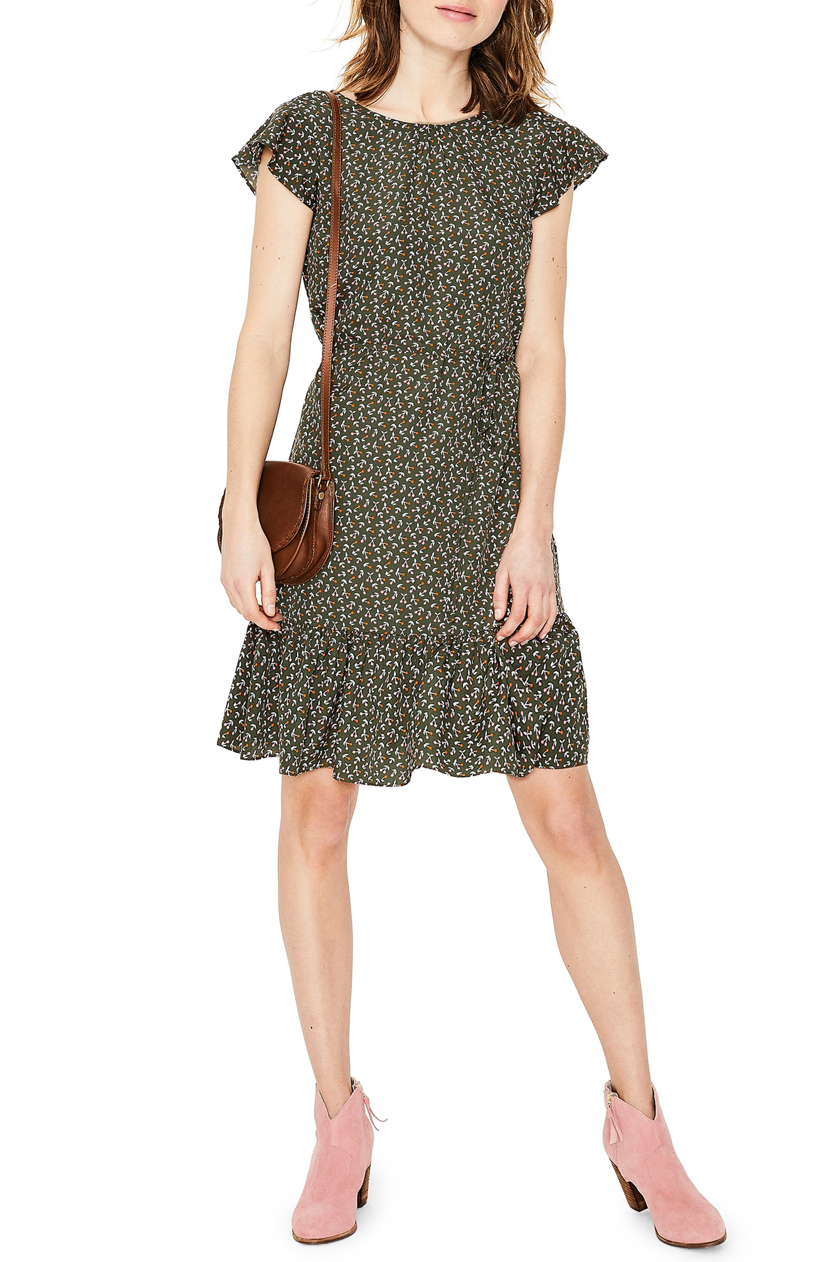 Petite Boden Cynthia Flounced Dress, Green