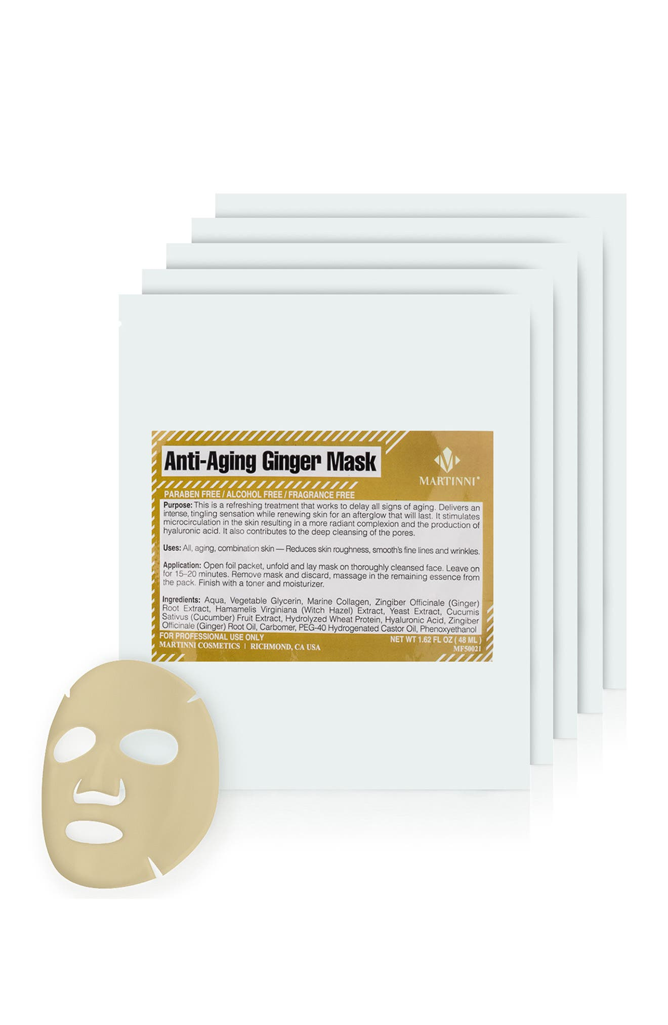 Image of MARTINNI MASKS Anti-Aging Ginger Face Mask - Pack of 5