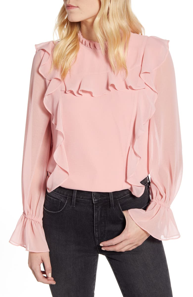 RACHEL PARCELL Feminine Ruffle Top, Main, color, PINK BRIDE