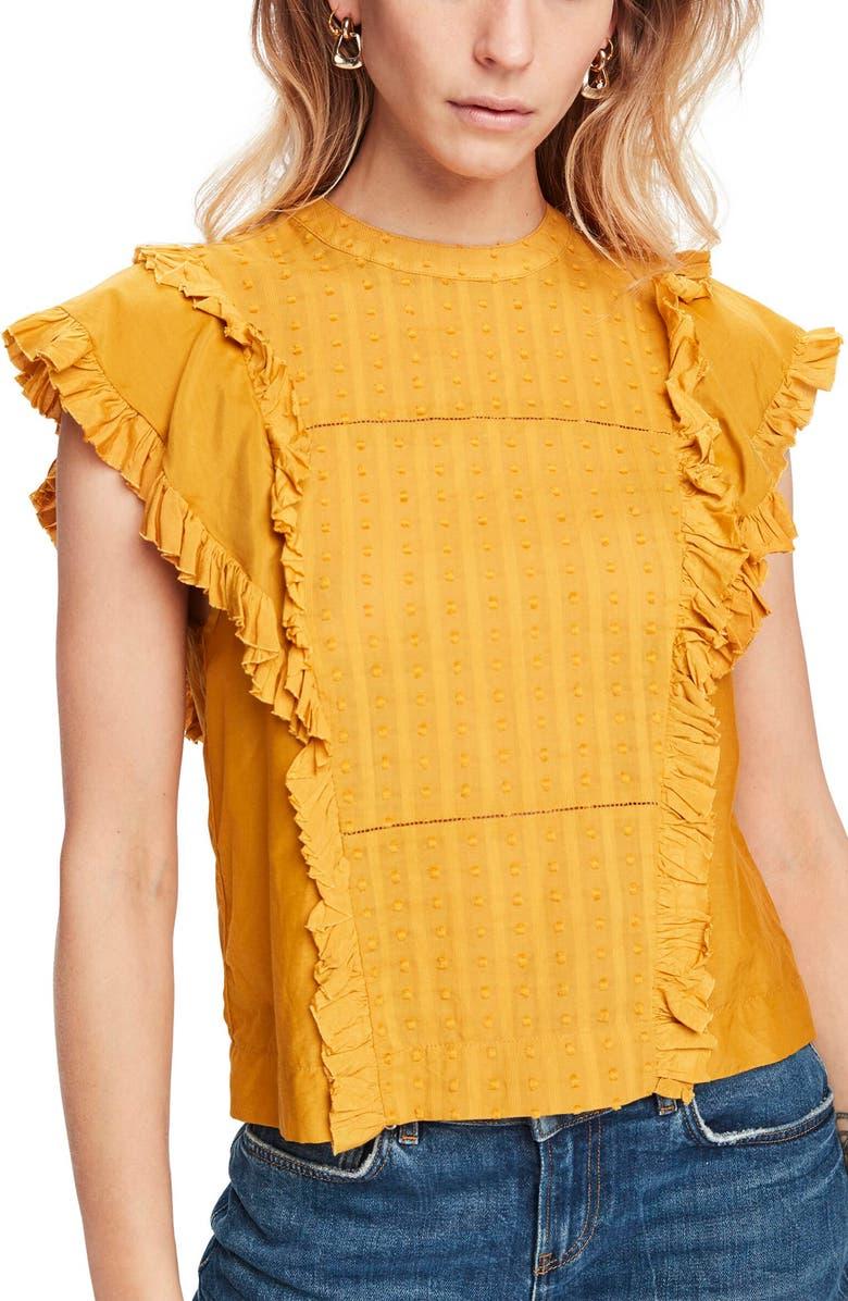 SCOTCH & SODA Ruffle Cotton & Silk Blouse, Main, color, 720