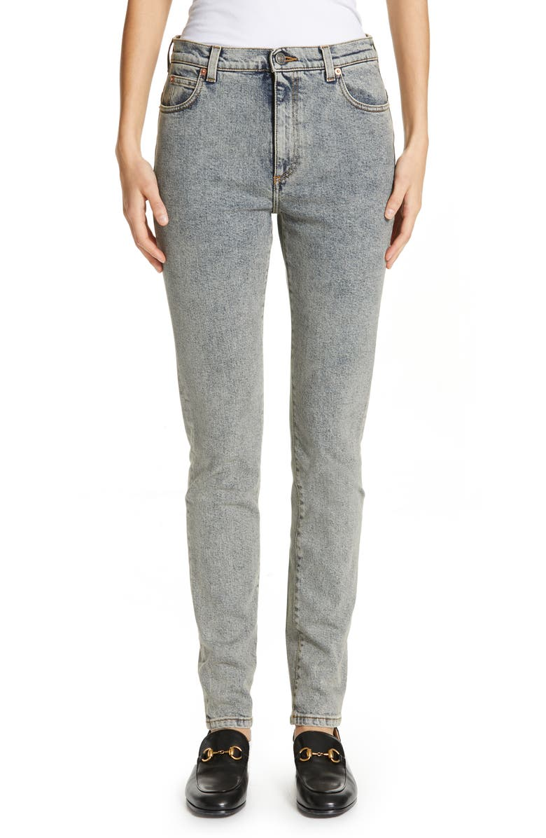 GUCCI Stamp Print Skinny Jeans, Main, color, 420