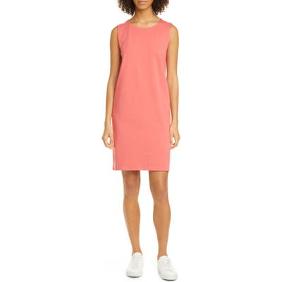 Eileen Fisher Jewel Neck Sleeveless Organic Cotton Shift Dress, Pink