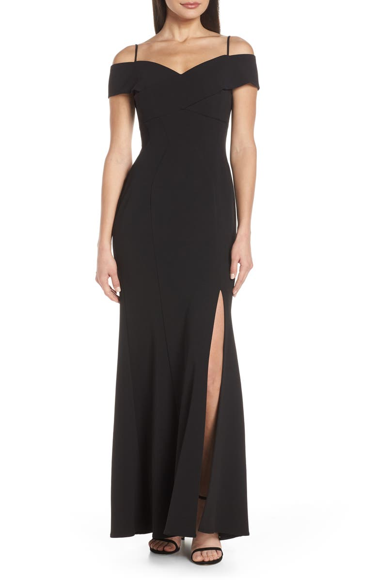 Morgan Co Portrait Collar Scuba Crepe Evening Dress