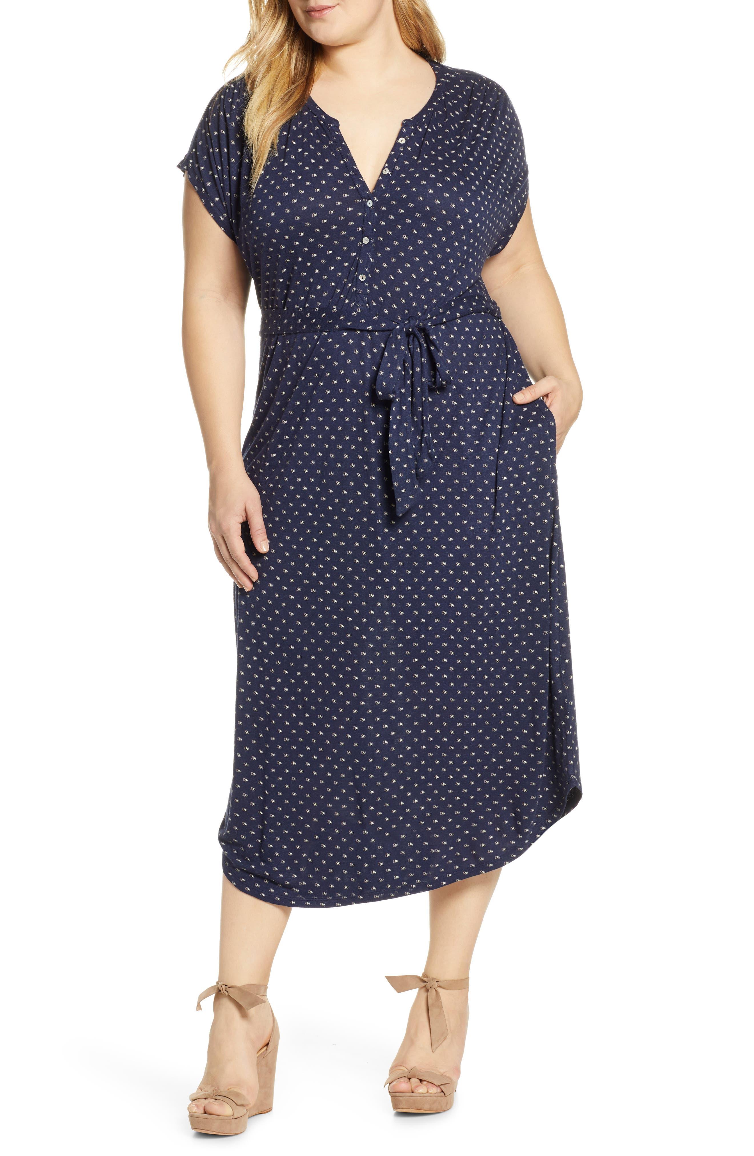 Plus Size Lucky Brand Print Henley Shirtdress, Blue