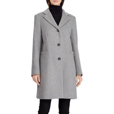 Lauren Ralph Lauren Wool Blend Reefer Coat, Grey