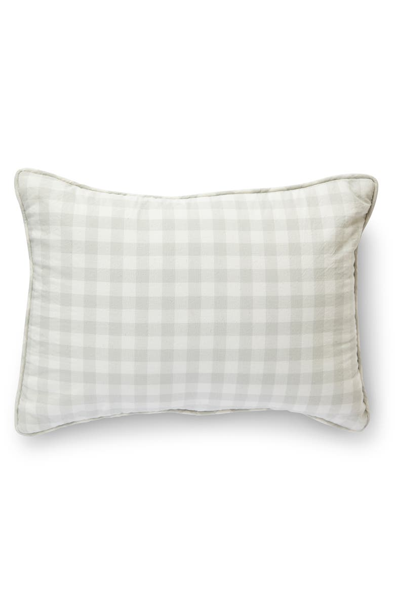 PEHR CheckMate Organic Cotton Nursery Pillow, Main, color, FOG GREY