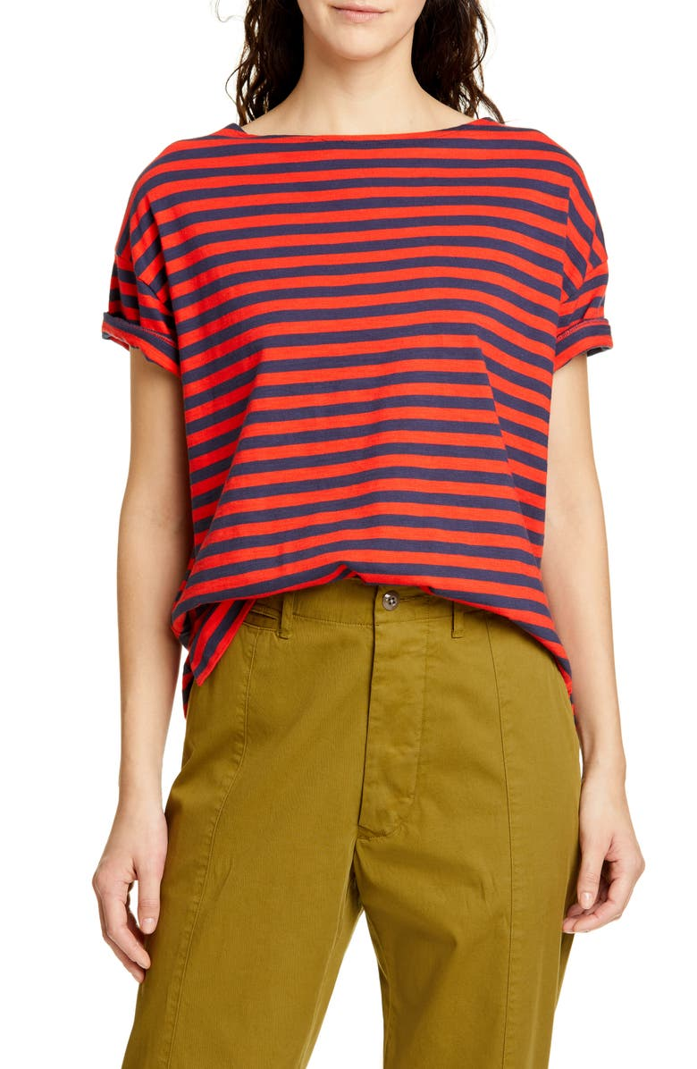 ALEX MILL Stripe Slub Boxy Tee, Main, color, NAVY/ TOMATO